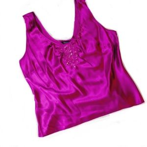 silk tank with beading and sequins